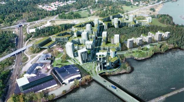 Illustration av den nya stadsdelen Vårvik i Trollhättan.