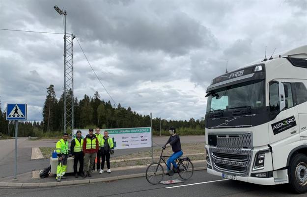 Från vänster: Kim Bergvall, Projektledare Viscando, Amritpal Singh, VD Viscando, Jonas Malmryd, Specialist Trafikkontoret Göteborg Stad, Kasper Johansson, Testingenjör AstaZero och Greger Rognelund, Projektledare AstaZero.