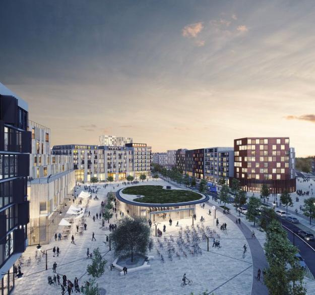 Vy mot det stora torget där Barkarbystadens västra tunnelbaneuppgång kommer att ligga. Här blir stadslivet som mest intensivt med kontor, handel, restauranger och annan service.