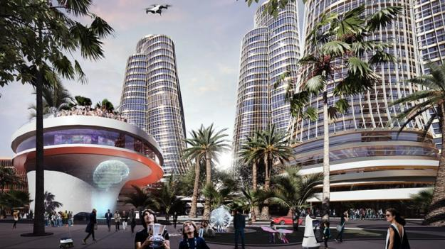 """Visionsbild över ett nytt""""Silicon Valley""""; enny High-Tech Park på ön Hainan i södra Kina (bilden är en illustration)."""