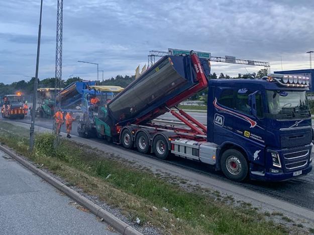 Asfaltering i Stockholm.