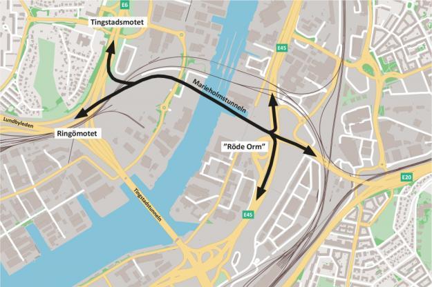 Schematisk karta över Marieholmstunnelns förbindelser.