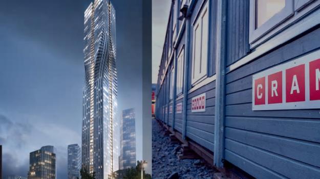 Bilden är ett kollage. Till vänster är en visionsbild över Karlatornet, och till höger visas Cramos byggbodar.