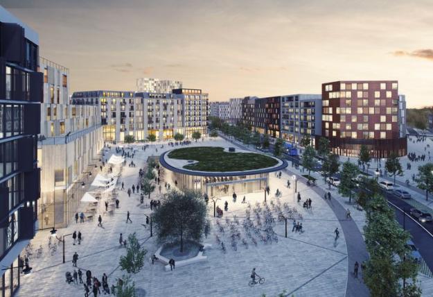 Utbyggnaden av Barkarbystaden är komplex och involverar många aktörer som bygger för tunnelbana, bostäder, kontor, handel och service. Bilden visar hur Sveatorget kan komma at se ut.Torget kommer ge plats för tunnelbana och bussar, samt ävenhandel, restauranger och annan<br />service.
