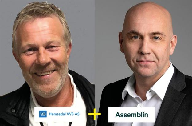 Håkon Albjerk, chef på Hemsedals VVS, och Torkil Skancke-Hansson, vd och chef för affärsområde Assemblin Norge.