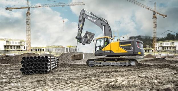 Grävmaskinen Volvo EC300E (30-ton) används som testbädd för systemet NorrDigi från Norrhydro.