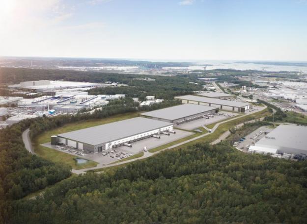 Sörred Logistikpark kommer bestå av fyra logistikfastigheter som byggs i Sveriges bästa logistikläge nära Göteborgs hamn (bilden är en illustration).