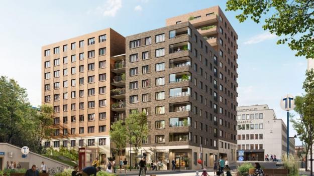 Visionsbild över lägenhetsfastigheten (bilden är en illustration).